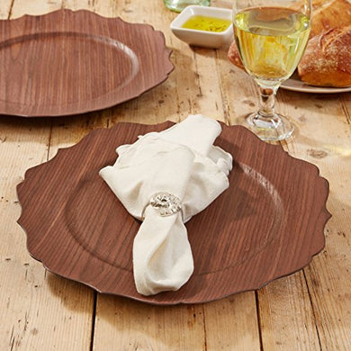 Two's Company Scalloped Wood Veneer Charger (Set of 4)