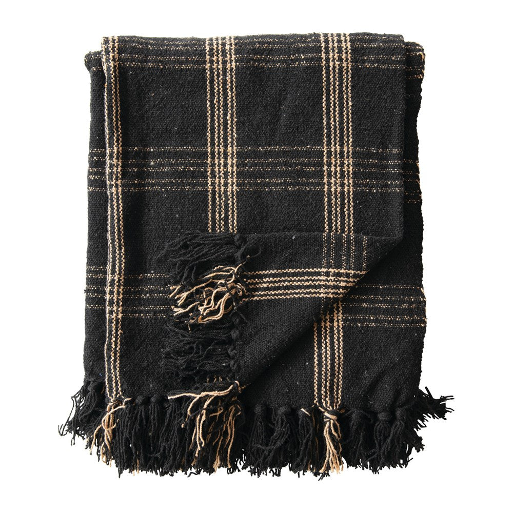 Woven Cotton Blend Throw with Fringe