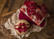 "limited-edition ""Cranberry"" velvet bow OR wrap OR backdrop ($22/23/15/38)"