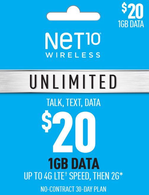 Net10 $20 Unlimited Plan