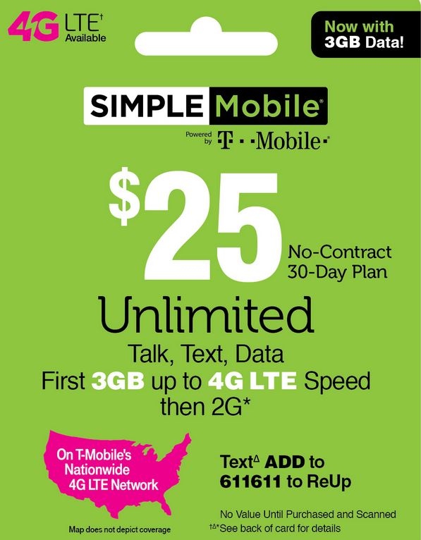 Simple Mobile $25 Unlimited Plan
