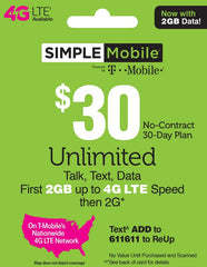Simple Mobile $30 Unlimited Plan