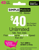 Simple Mobile $40 Unlimited Plan