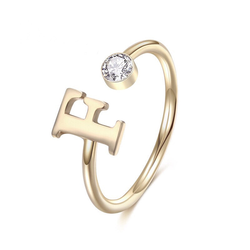 One Letter Initial Ring with Birthstone