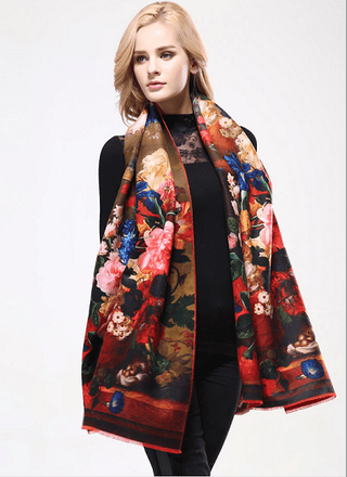 Luxury Print Wool Scarf-HAGA Shop