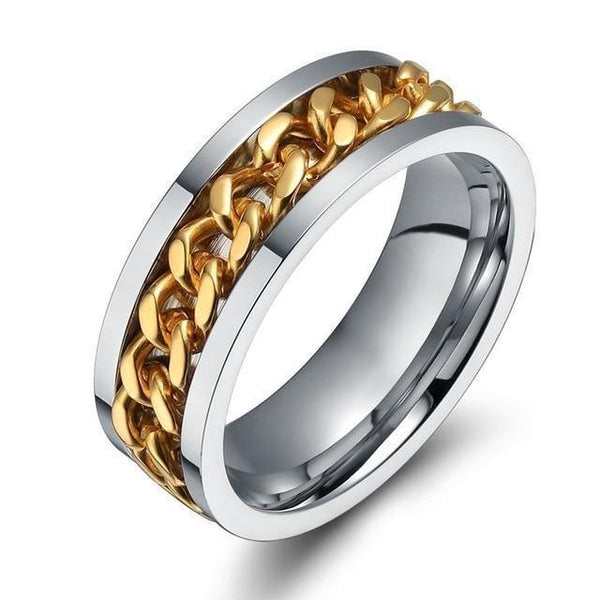 HAGA Shop 11 / Gold Vnox 8mm Rotatable Chain Ring For Men Women Stainless Steel Flexible Spinner Link Casual Fraternal Rings Male Jewelry Anel