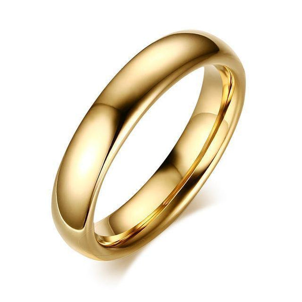 HAGA Shop 5 / gold color Vnox Classic 4.0mm Tungsten Ring for Women Trendy Wedding Jewelry Hand Polishing US 5 6 7 8 9