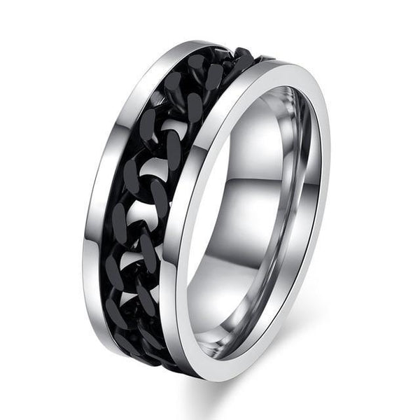 HAGA Shop 6 / Black Chain Vnox Spinner Black Chain Ring for Men Punk Titanium Steel Metal Finger Jewelry Male Alliance
