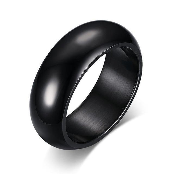 HAGA Shop 6 / Black Vnox 7mm Classic Ring For Women Men Arc Surface Stainless Steel Wedding Band Gold Color Unisex Neutral Simple Statement Jewelry