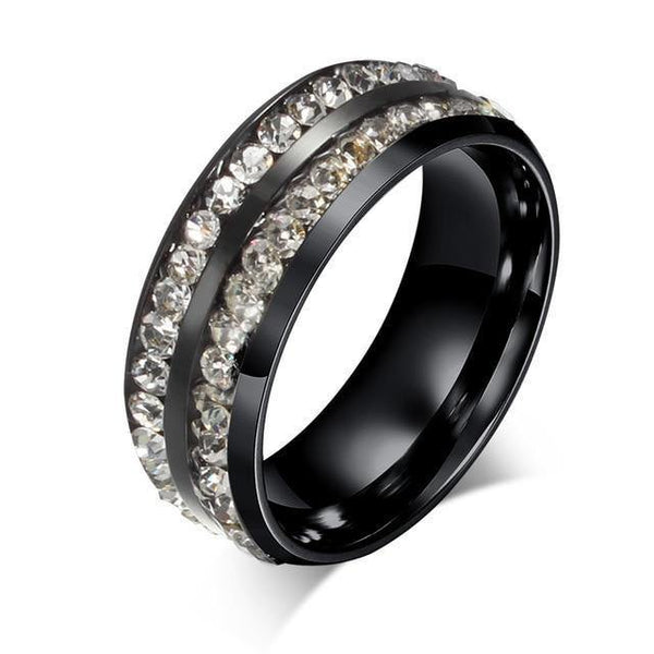 HAGA Shop 6 / clear stone Vnox Black Crystal Rings For Women Stainless Steel Rhinestone Wedding Ring USA Size