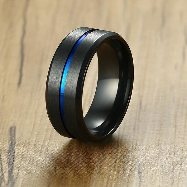 HAGA Shop 7 / Black Vnox 8mm Casual Black Men Ring Blue Line Stainless Steel Male Wedding Band Comfort Wear Gentlemen Jewelry
