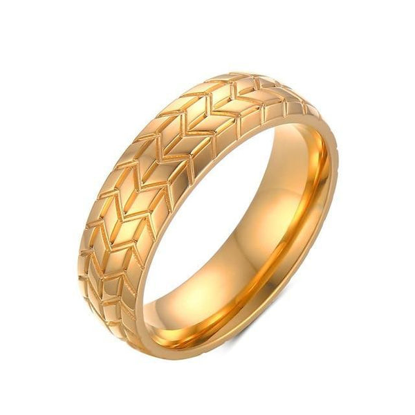 HAGA Shop 7 / Gold color Vnox Tire Tread Style Grooved Ring Men Jewelry Rock Punk Vintage Stainless Steel Party Jewelry