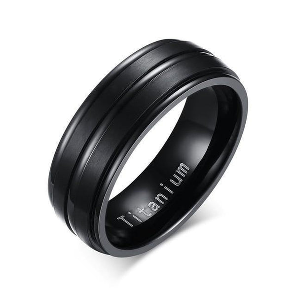 HAGA Shop 7 / TR012B Vnox 8mm Black Men Ring 100% Titanium Carbide Casual Men's Jewelry Wedding Bands Classic Boyfriend Gift