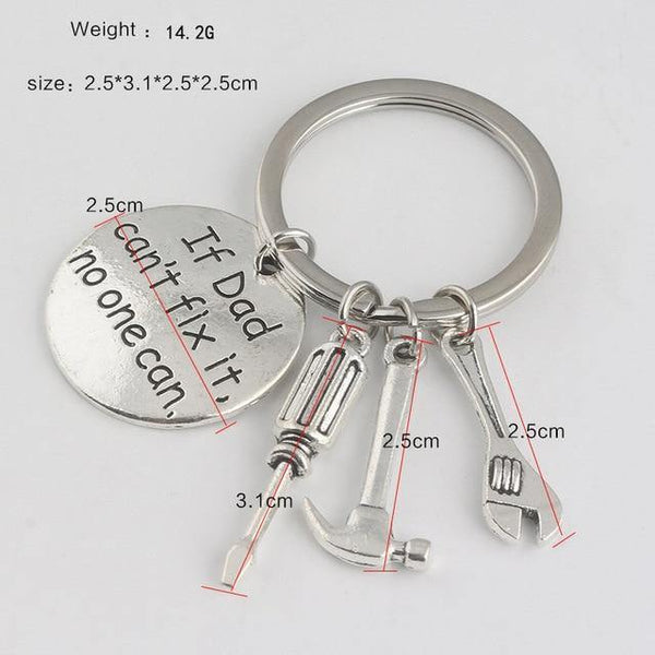 HAGA Shop as show 1 Pcs Trendy Silver Color Alloy round Lettering if dad can not fix it Drive Safe Car Trucker pendant KeyChain Gift Jewelry