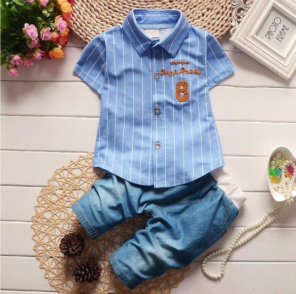075c066c3c6e HH baby boy clothing Cotton Gentleman suit Fashion Stripe T-shirt + ...