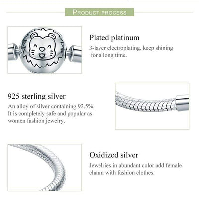 HAGA Shop BAMOER 100% 925 Sterling Silver Lion Animal Round Clasp Snake Strand Chain Bracelets for Women Sterling Silver Jewelry SCB054