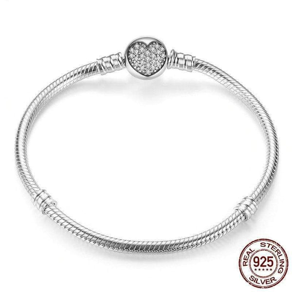 HAGA Shop BAMOER Authentic 100% 925 Sterling Silver Classic Snake Chain Bangle & Bracelet for Women Sterling Silver Jewelry PAS916