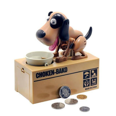 HAGA Shop Toys Black with Brown Dog Money Bank