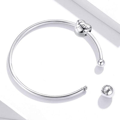 HAGA Shop [Buy 1 Get 1 Gift]  Silver Bangle 925 Sterling Silver Threaded Beads Bracelet for Original Charm DIY Jewelry Accessories SCB198