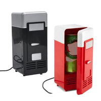 HAGA Shop Desktop Mini Fridge USB Gadget Beverage Cans Cooler Warmer Refrigerator With Internal LED Light Car Use Mini Fridge