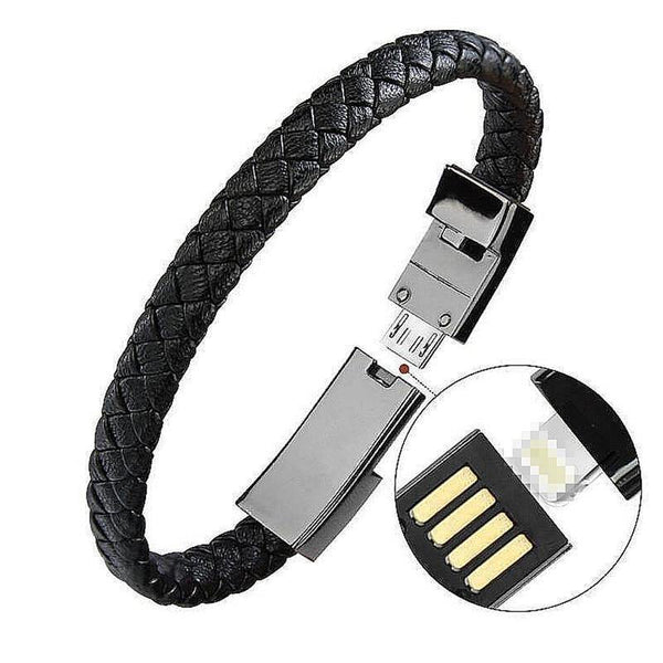 HAGA Shop Gadgets, Tools & Utility 20cm for iPhone / Black USB Leather Bracelet Charger
