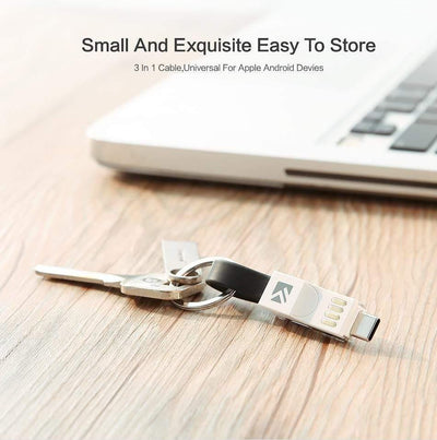 HAGA Shop Gadgets, Tools & Utility Blue Color / 1 Piece 3 in 1 Mini Keychain USB Cable