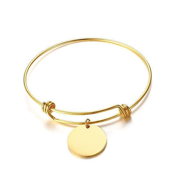 HAGA Shop Gold Color Vnox Coin Charm Expendable Bangle Bracelet Free Custom Engraving Name Love Date Stainless Steel Best Friendship Gifts