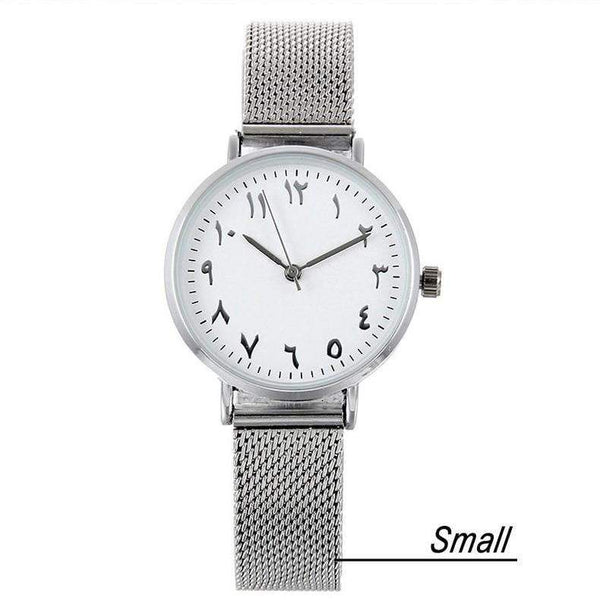 HAGA Shop Lover's Watches Small / China Arabic Numbers dial design women's fashion watch stainless steel Ultra thin silver