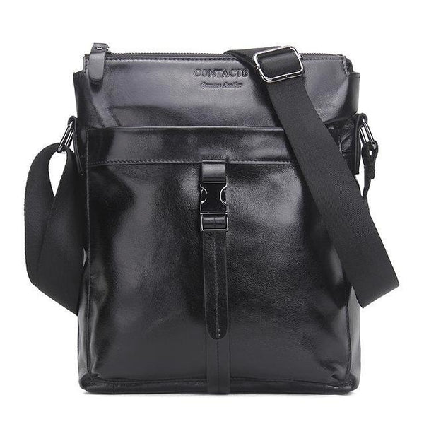 HAGA Shop Men's Bags Black / China / (20cm<Max Length<30cm) New Arrival Men Genuine Cowhide Leather Messenger Bag