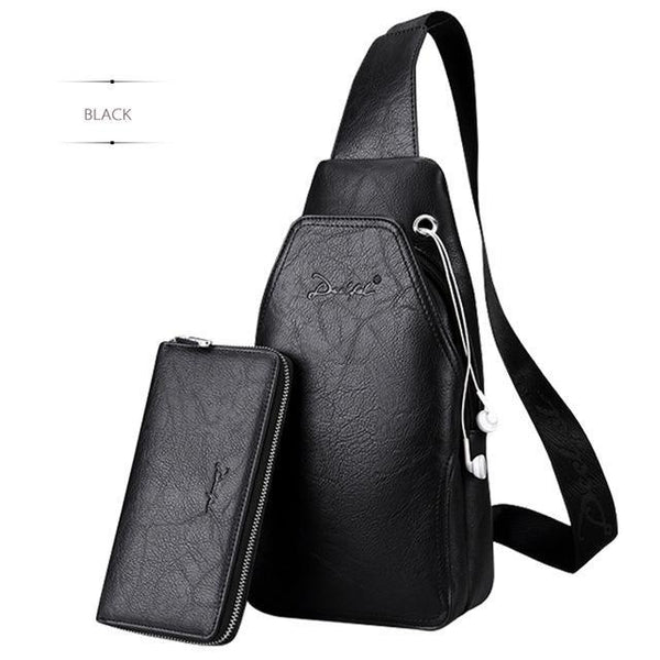 HAGA Shop Men's Bags Black / China Leather Cross-body Waterproof Bags For Men Messenger Chest Bag