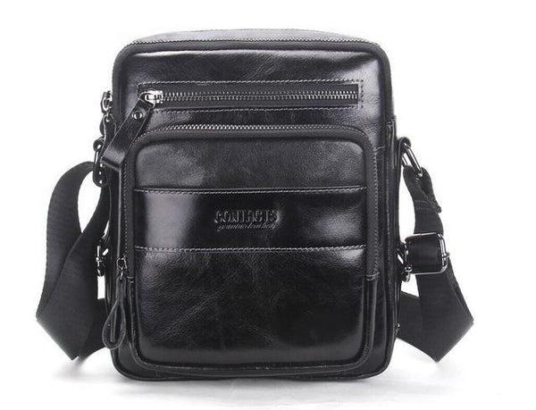HAGA Shop Men's Bags Black / China New Fashion Men Genuine Cow Leather Travel Shoulder Bag