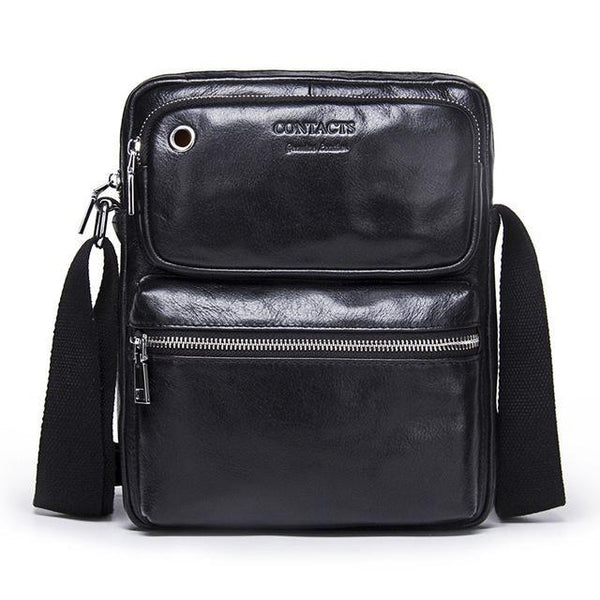 HAGA Shop Men's Bags Black / China Simple Look Genuine Leather Men Casual Messenger Bag