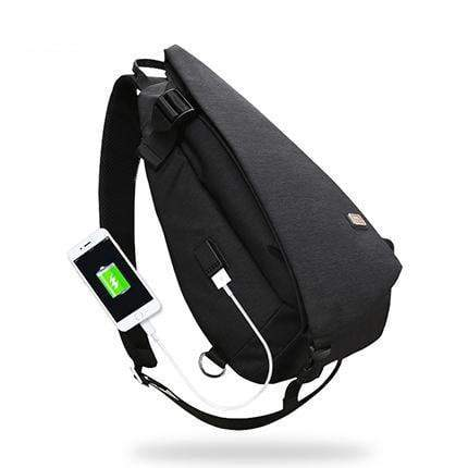 HAGA Shop Men's Bags Black USB / China New Arrivals USB Design High Capacity Chest Bag For Men