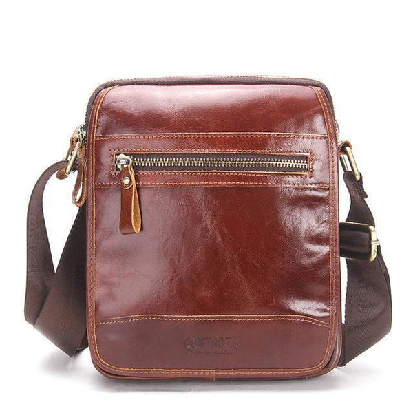HAGA Shop Men's Bags Brown / China Fashion Genuine Leather Cowhide Man Messenger Bags In Brown Chocolate