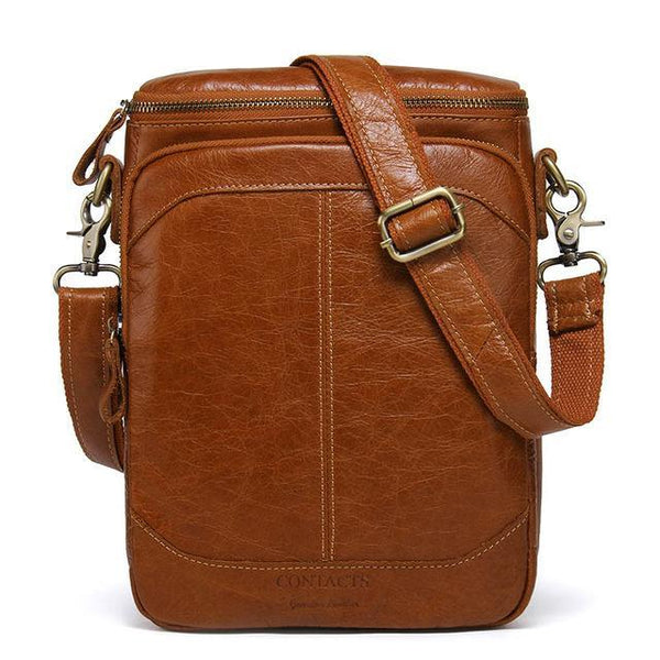 HAGA Shop Men's Bags brown / China Men Classic Cowhide Leather Shoulder Bags Business