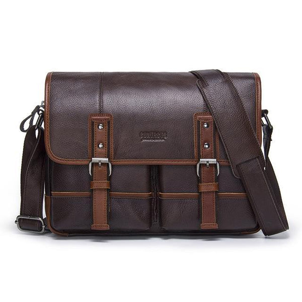 HAGA Shop Men's Bags coffee / China Fashion Look Men Genuine Cowhide Leather Cross-body Bag In Brown Coffee