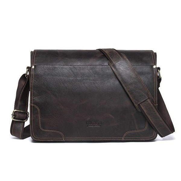 HAGA Shop Men's Bags coffee / China Genuine Leather Men Casual Shoulder Cross-body Bag