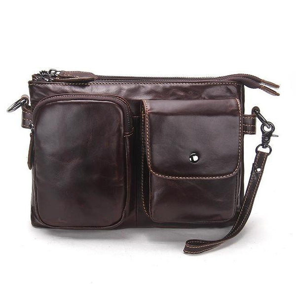 HAGA Shop Men's Bags dark brown / China Men Genuine Leather Bag Casual Fashion In Brown Chocolate Color