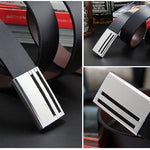 HAGA Shop Men's Belts Men Genuine Leather Strap Belts for High Metal Plate Buckle 2018