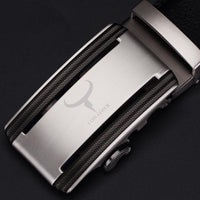HAGA Shop Men's Belts silver CZ008 / 110cm Unique Men Genuine Leather Belts Cinto Masculino Original
