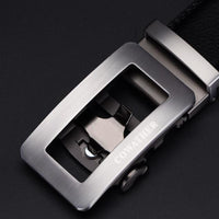 HAGA Shop Men's Belts silver CZ012 / 110cm Luxury Belts For Men Made From Genuine Leather Strap Automatic Buckle Belt