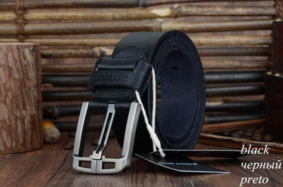 HAGA Shop Men's Belts XF005 black / 100cm Genuine Leather Belts for Men Alloy Buckle Fashion Style