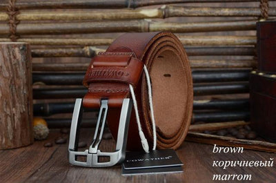 HAGA Shop Men's Belts XF005 brown / 100cm Genuine Leather Belts for Men Alloy Buckle Fashion Style