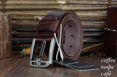 HAGA Shop Men's Belts XF005 coffee / 100cm Genuine Leather Belts for Men Alloy Buckle Fashion Style