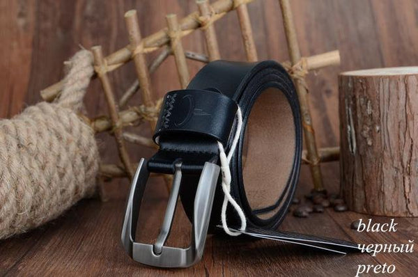 HAGA Shop Men's Belts XF008 black / 100cm High Quality Vintage Style Pin Buckle Cow Leather Belts