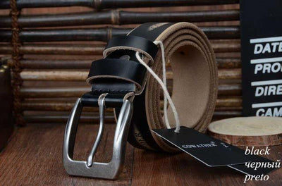 HAGA Shop Men's Belts XF009 black / 100cm High Quality Genuine Leather Luxury Strap Belts for Men