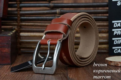 HAGA Shop Men's Belts XF009 brown / 100cm High Quality Genuine Leather Luxury Strap Belts for Men