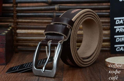HAGA Shop Men's Belts XF009 coffee / 100cm High Quality Genuine Leather Luxury Strap Belts for Men