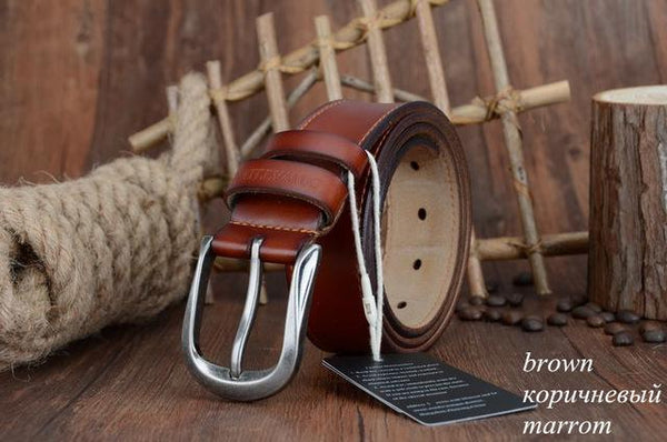 HAGA Shop Men's Belts XF011 brown / 125cm Men Fashion Pin Buckle Genuine Leather Belt Three Colors Options
