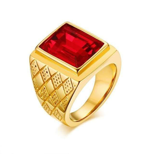 HAGA Shop Men's Jewelry 11 / RC-266R Big Stone Signet Rings for Men Jewelry Gold Tone Stainless Steel